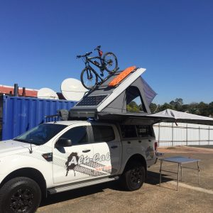 Alu-Cab Roof Top Tent carrying bike & MaxTrax on roof